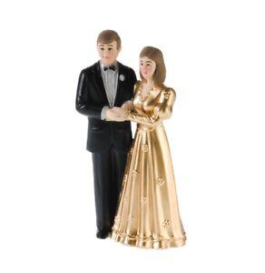 Kuchendeko Brautpaar Gold Tortenaufsatz Goldene Hochzeit 11 5 Cm Neu