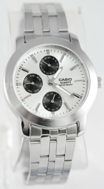 Casio MTP-1192A-7AD Mens Silver Steel Analog Watch Dress Watch 3 Dials New