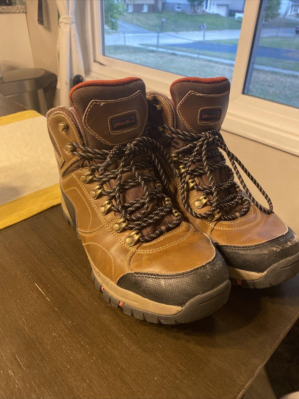 EDDIE BAUER - Men's Brandon Hiking Boots Brown Waterproof US Size 9.5 Leather