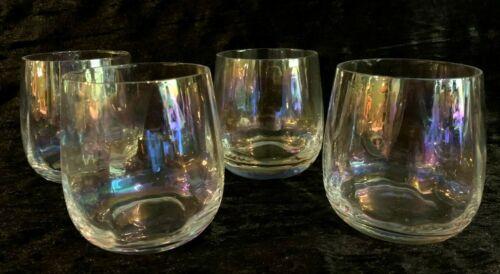 Set of 4 Iridescent Rachel Zoe Stemless Wine Glasses16.6 ozNEW