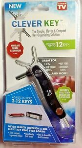 Clever Key Organizer As Seen On TV 2 to 12 Keys New in Package USA Seller