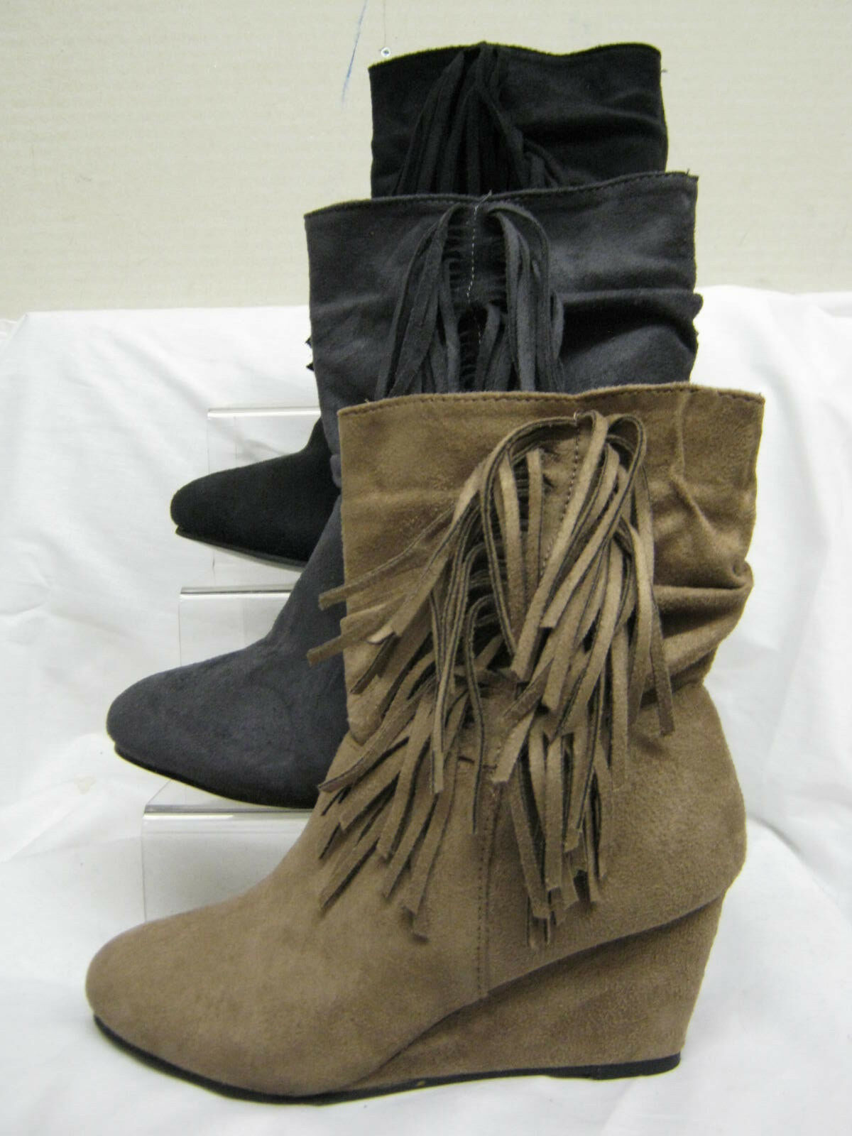"Ladies Spot On Faux Suede Ankle Boots with Tassels & 2.5"" Heel F50070"