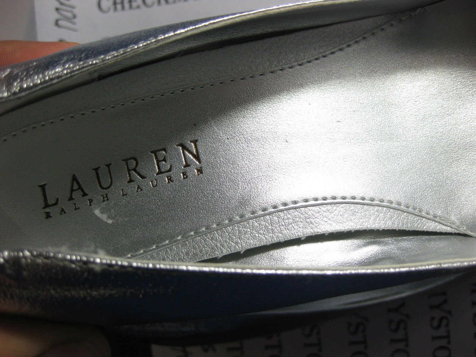 NWT LAUREN ™ RALPH LAUREN ® collection ILENA LEATHER PUMP PUMP PUMP Silber LEATHER SZ 9 377ccd