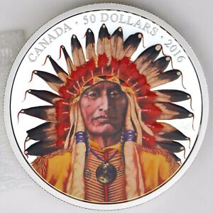 2016 $50 Wanduta: Portrait of a Chief, 5 oz. 99.99% Pure Silver Color Proof
