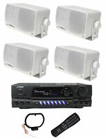 4) Pyle Plmr24 200w Outdoor Speakers + Pt260a 200w Stereo Theater Receiver on sale