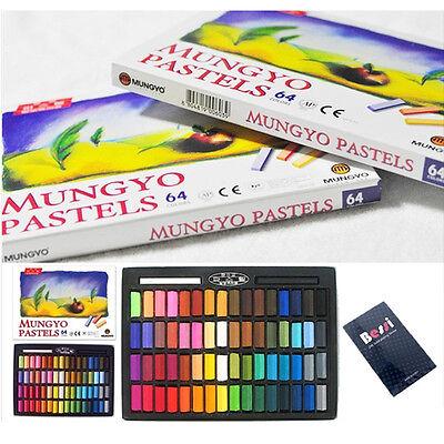 MUNGYO Soft Pastels 24//32//48//64 Colors Set Half Length Square Chalk Vivid Crayon