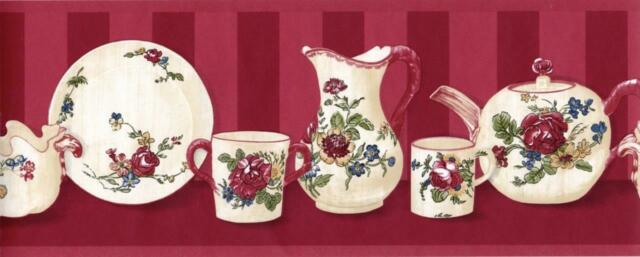 Antique Painted Floral Plate Cup Kettle Country Kitchen Shelf Wallpaper Border