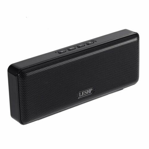 LESHP Mini Ultra-thin Dual-speaker Bluetooth Speaker FM function Black NEW C