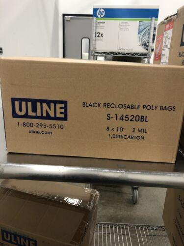 1000//carton 2mil Uline Black Reclosable Poly Bags S-14520BL