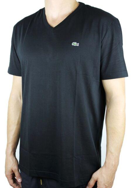 11374da9a0 Lacoste Short Sleeve Jersey Pima V Neck T-shirt - Mens 3 Black for ...