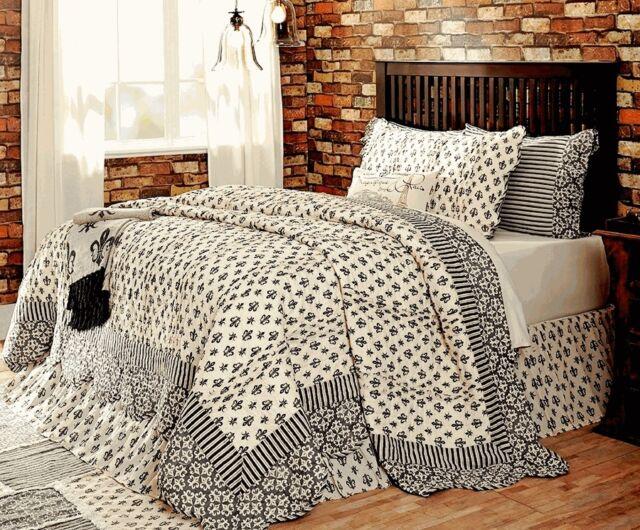 Elysee King Quilt Black Cream Fleur Paris French Parisian Comforter