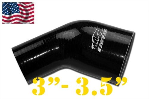 """3 1//2/"""" Black 89mm 3/"""" 4PLY Silicone 45 Degree Reducer Elbow Joiner Hose 76mm"""