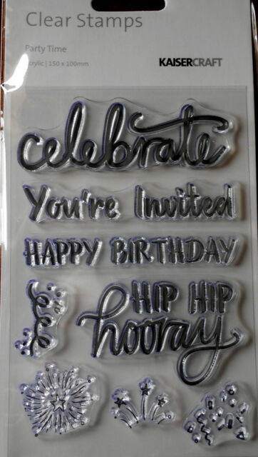 Kaisercraft Clear Stamps x 8 ~ PARTY TIME ~ Scrapbooking/Cardmaking
