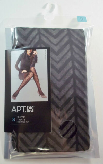 Apt 9 Control Top Sheer Tights ZIG ZAG Stripe Black SMALL Textured NWT
