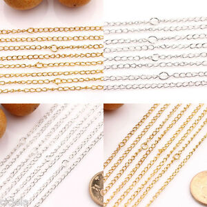 Lot-10-50Pcs-Gold-Silver-Plated-Filigree-Metal-Chain-Necklace-Findings-3x2mm-DIY