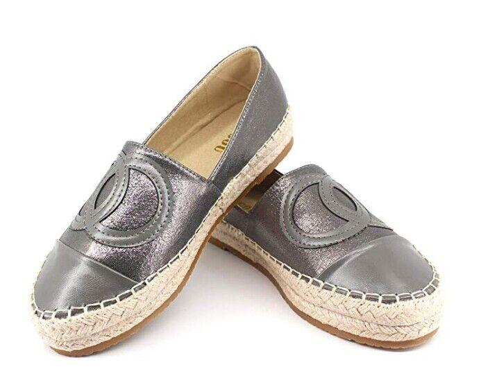 donna sautope Slip On Loafers Flat Espadrilles Platform Alpargata Jute Summer nuovo