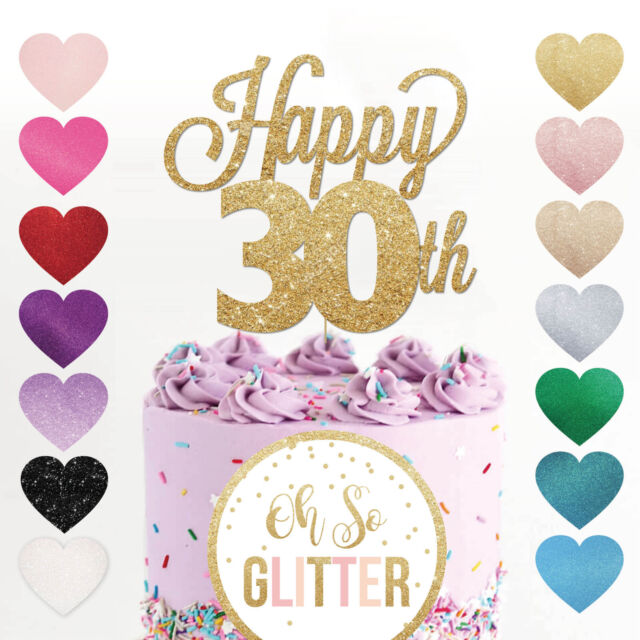 Happy 30th Birthday Cake Topper Thirty Daughter Son Nephew Niece Glitter
