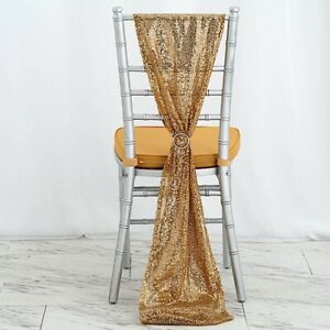 Extra Wide Gold Premium Sequined Chair Sashes Wedding Party Events Decorations Ebay
