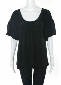 MADISON-MARCUS-BLACK-SILK-SHORT-SLEEVE-RUCHED-PLEATED-RUFFLES-BLOUSE-TOP-Sz-XS