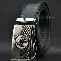 Men's Dress Luxury Genuine Leather Adjustable Waist Belt Eagle Auto Lock Belt