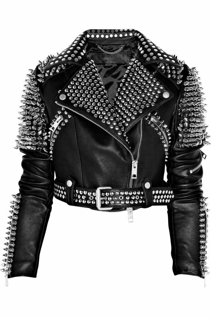 New Woman Black biker Leather Jacket Silver Spiked Stud