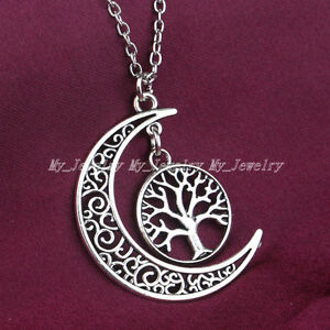 New-Women-Moon-Life-Tree-Charm-Crescent-Moon-Pendant-Necklace-Gift-Family-Hot