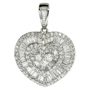 2-60-TCW-Round-Baguette-amp-Princess-Cut-Diamonds-Heart-Pendant-In-14k-White-Gold
