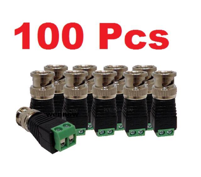 100 Pcs Screw Terminal Coax Cat5 Cat6 to BNC Male Video Balun Connector Adapter