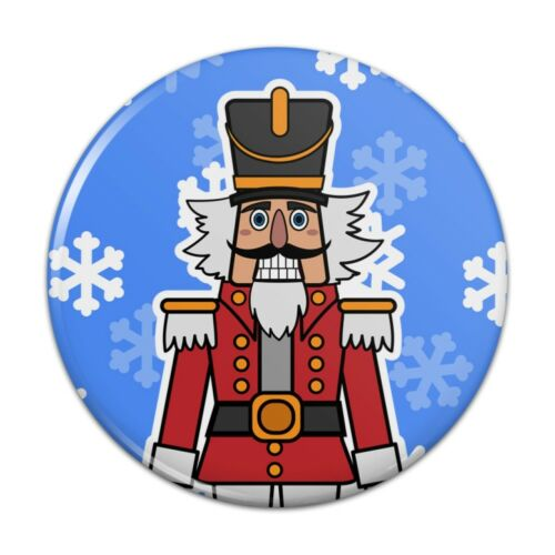 Grinning Nutcracker Soldier with Snowflakes Pinback Button Pin Badge