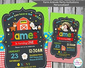 farm animals party invitations personalised card chalkboard invites