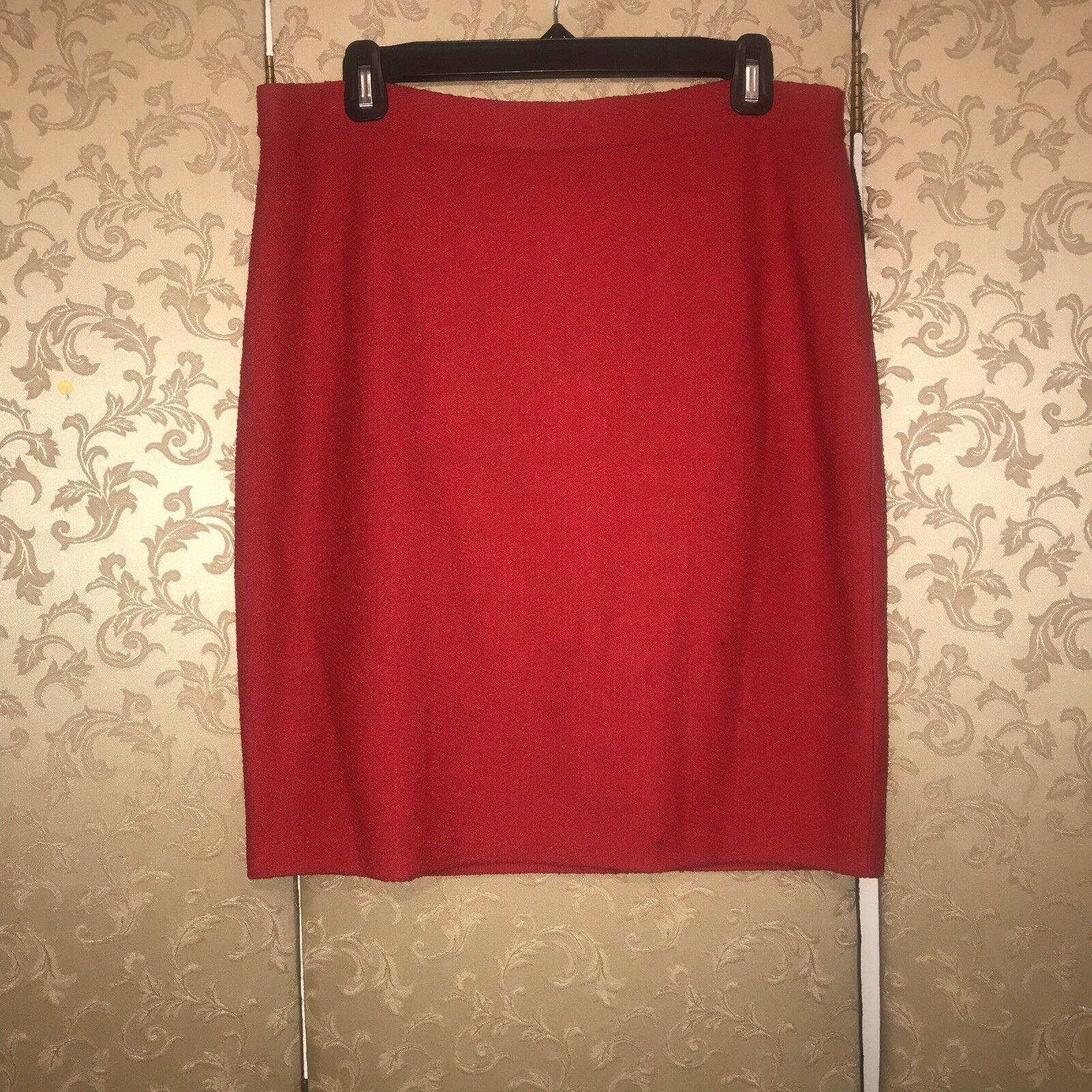 St. John Red Santana Knit Pencil Skirt 8