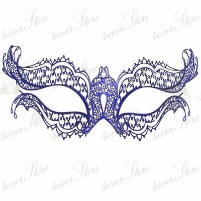 Ehrlichkeit Blau Laser Cut Metall Damen Mardi Gras Halbschuhe Masquerade Maske M7119c