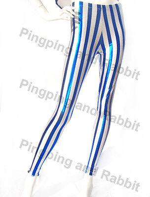 Shiny Metallic Blue Striped Leggings Nylon Spandex Wet Look Pants Stripes