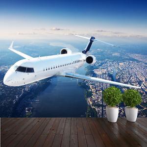 Private Jet Flying Over City Plane Photo Wallpaper Mural Bedroom