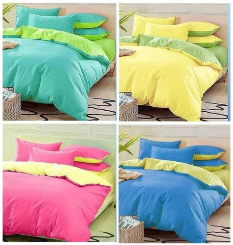 Plain Dyed 3Pc Reversible Duvet Cover with Pillow case Bedding Set