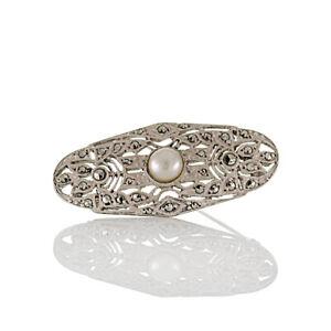 Antike-handgefertigte-Art-deco-Brosche-Silber-geprueft-Glaswachsperle-Markasiten