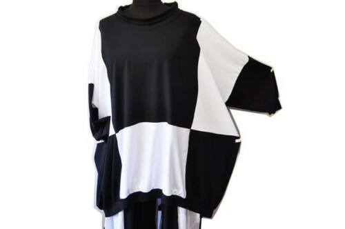 Lagenlook BIG-MONGOLFIERA-Maglione Collo Black /& White 46,48,50,52,54,xxl XXXL XXXXL