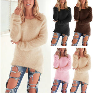 Femme-ISASSY-Pull-Manches-Longues-Velours-Haut-Hiver-Chaud-Tricot-Pull-over