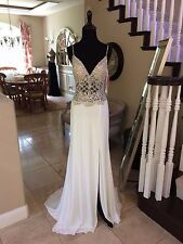 $440 NWT WHITE JVN BY JOVANI PROM/PAGEANT/FORMAL/WEDDING DRESS/GOWN #25420 SZ 4