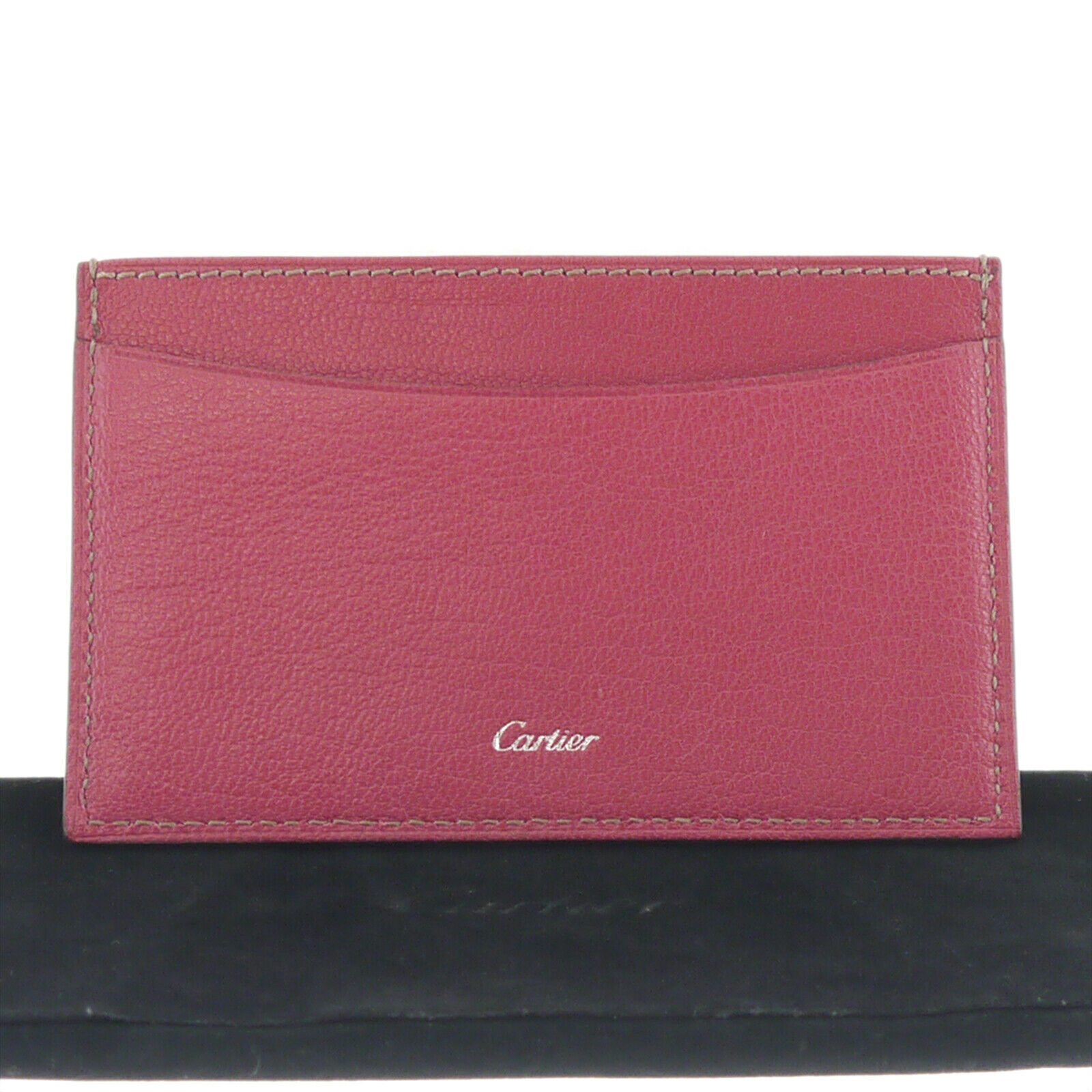Authentic Cartier Les Must Simple Card Case Pink Leather #f46827