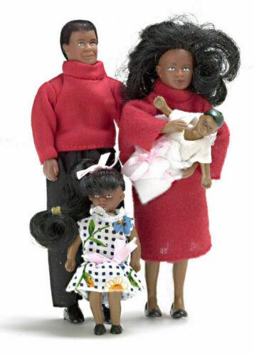DOLLHOUSE MINIATURE 4 PC MODERN BLACK DOLL FAMILY #00030***