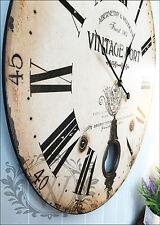 Nuevo 60cm Reloj Pared Redondo De Madera Antiguo Grande Vintage Shabby Chic Péndulo