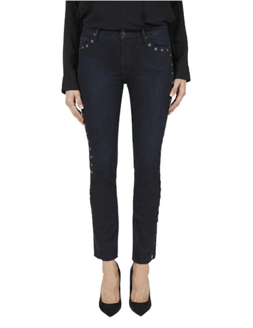 BLACK ORCHID Bardot Straight Fray Eyelet Jeans Dark Blue Dead Of Night 26 #602