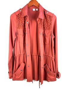Bongo Burnt Orange Medium Size M Button Front Light Jacket Cardigan Women's (a3)