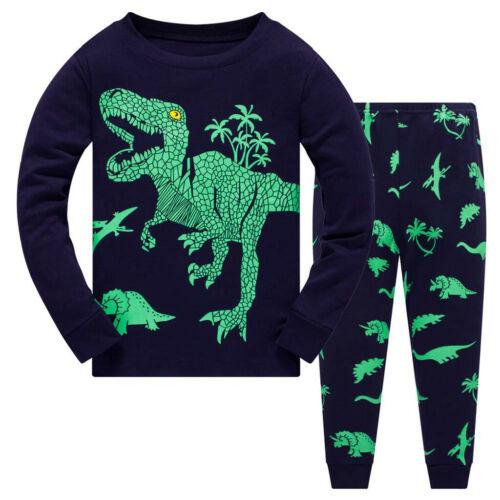 Pants Pajamas Sleepwear Outfits Set Baby Boy Kids Cartoon Dinosaur T shirt Tops