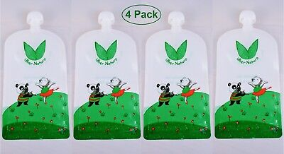 6 Pack Uber Natura Reusable Refillable Baby Food Pouches for Homemade Food