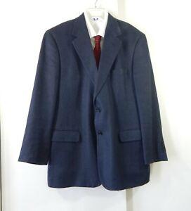 BROOKS BROTHERS jacket blazer sport coat navy blue wool silk linen 2 button 42R
