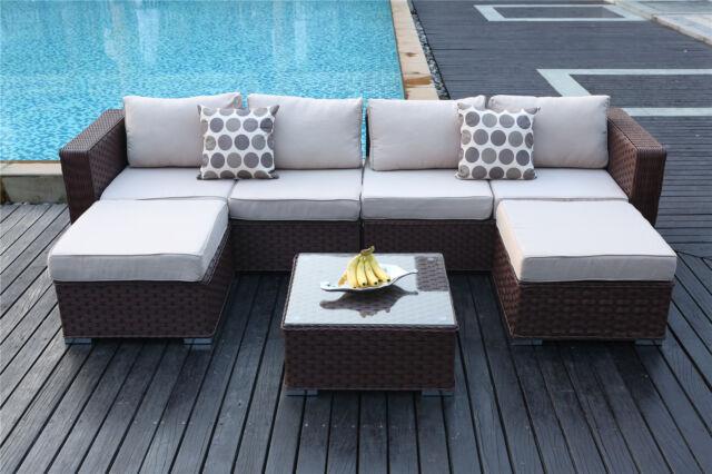 98693bd0034b Papaver 6 Seat Rattan Corner Sofa Set Garden Furniture Patio Conservatory  Brown