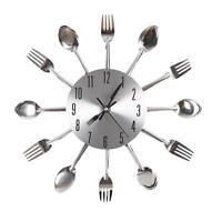Modern Design Silver Cutlery Kitchen Utensil Wall Clock Spoon Fork Clock