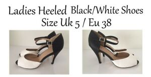 Ladies Open Toe Black/White Heeled Shoes Size Uk5 / Eu 38 FREE Delivery